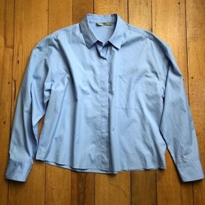 Vince Blue Boxy Cotton Button Down Shirt